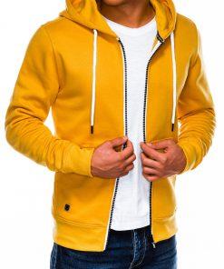 Geltonas vyriškas džemperis su gobtuvu internetu pigiau B977 14059-1