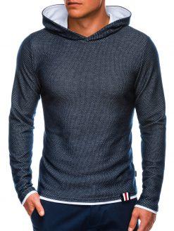 Tamsiai mėlynas vyriškas džemperis su gobtuvu internetu pigiau B698 14061-1