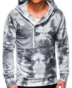 Pilkas margas vyriškas džemperis su gobtuvu internetu pigiau B1008 14063-3