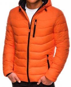 Oranžinė vyriška rudeninė striukė su gobtuvu internetu pigiau C371 14071-1