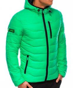 Žalia vyriška rudeninė striukė su gobtuvu internetu pigiau C348 14072-1