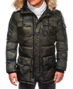 Žalia kamufliažinė vyriška žieminė striukė internetu pigiau Rudvin C355 11041-1