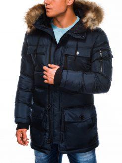 Tamsiai mėlyna vyriška žieminė striukė internetu pigiau Rudvin C355 11380-1