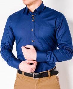 Mėlyni vyriški marškiniai ilgomis rankovėmis internetu pigiau K302 2549-1