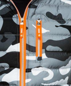 Pilka kamufliažinė vyriška liemenė su gobtuvu internetu pigiau Malmo V24 1582-2