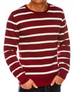 Tamsiai raudonas dryžuotas vyriškas megztinis internetu pigiau E155 14073-3