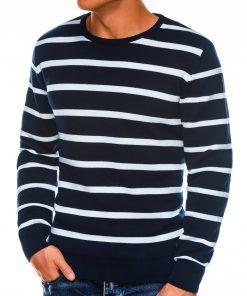 Tamsiai mėlynas dryžuotas vyriškas megztinis interneti pigiau E155 14074-2