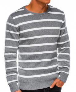Pilkas dryžuotas vyriškas megztinis internetu pigiau E155 14075-2