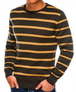 Žalias dryžuotas vyriškas megztinis internetu pigiau E155 14076-2