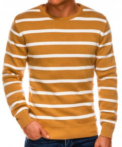Geltonas dryžuotas vyriškas megztinis internetu pigiau E155 14077-2