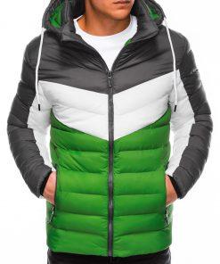 Žalia vyriška žieminė striukė internetu pigiau C418 14081-1
