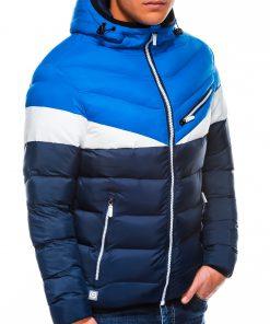 Mėlyna dygsniuota vyriška rudeninė striukė internetu pigiau C434 14084-2