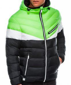 Žalia dygsniuota vyriška rudeninė striukė internetu pigiau C434 14085-6