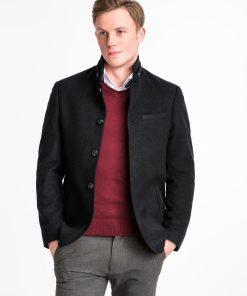 Juodas rudeninis vyriškas paltas internetu pigiau C427 14086-2