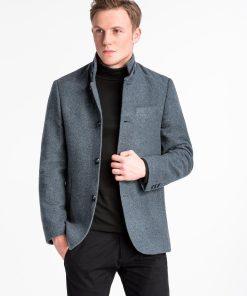 Tamsiai pilkas rudeninis vyriškas paltas internetu pigiau C427 14092-1