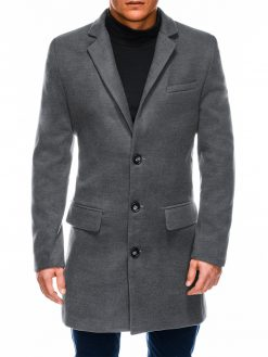 Tamsiai pilkas rudeninis vyriškas paltas internetu pigiau C432 14105-2