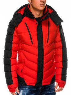Raudona vyriška žieminė striukė internetu pigiau C417 14114-3