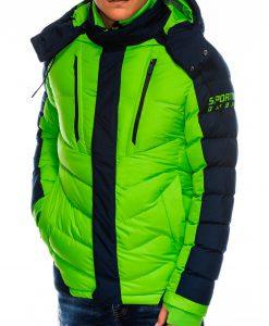 Žalia vyriška žieminė striukė internetu pigiau C417 14116-3