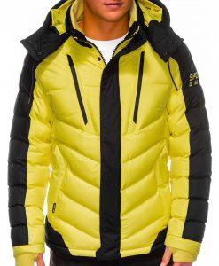 Geltona vyriška žieminė striukė internetu pigiau C417 14117-2