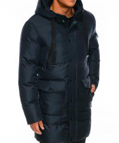 Tamsiai mėlyna žieminė vyriška striukė internetu pigiau Halk C409 14123-1