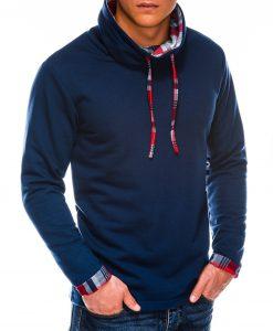 Tamsiai mėlynas vyriškas džemperis su stačia apykakle internetu pigiau B1015 14125-3