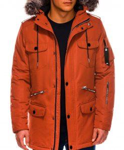 Oranžinė žieminė vyriška striukė ALASKA tipo PARKA internetu internetu Ritorn C382 C410 14128-5