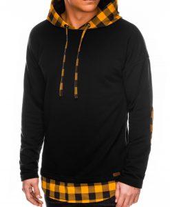 Juodas vyriškas džemperis su gobtuvu internetu pigiau B1014 14165-6