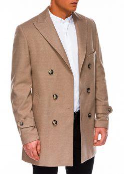 Rusvas elegantiskas rudeninis paltas vyrams internetu pigiau C429 14173-2