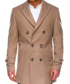 Rusvas elegantiškas rudeninis vyriškas paltas internetu pigiau C429 14173-6