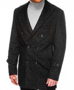 Juodas elegantiskas rudeninis vyriskas paltas internetu pigiau C429 14174-2
