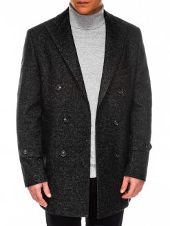 Juodas elegantiškas rudeninis vyriškas paltas internetu pigiau C429 14174-6