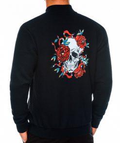 Juodas vyriškas džemperis Bomber su kaukole internetu pigiau C374 14175-1