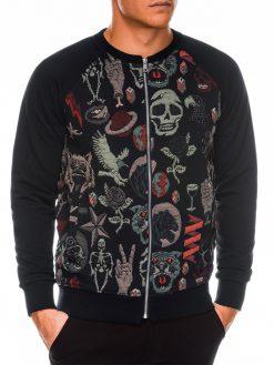 Juodas vyriškas džemperis Bomber internetu pigiau C376 14176-2