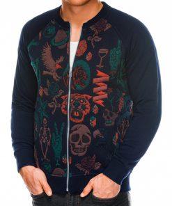 Tamsiai mėlynas vyriškas džemperis Bomber internetu pigiau C376 14177-3