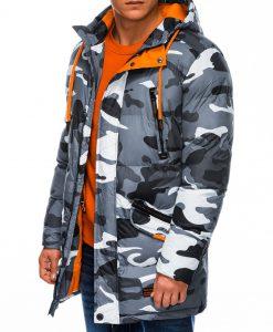 Pilka kamufliažinė žieminė vyriška striukė internetu pigiau Avanes C383 10562-5