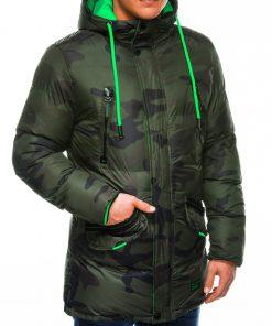 Žalia kamufliažinė žieminė vyriška striukė internetu pigiau Avanes C383 10563-3