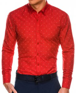 Stilingi raudoni vyriški marškiniai ilgomis rankovėmis internetu pigiau K465 13624-1