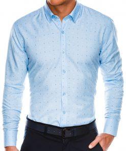 Stilingi šviesiai mėlyni vyriški marškiniai ilgomis rankovėmis internetu pigiau K465 13625-1
