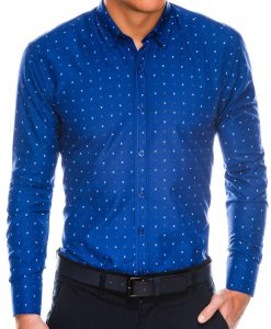 Stilingi tamsiai mėlyni vyriški marškiniai ilgomis rankovėmis internetu pigiau K465 13626-1