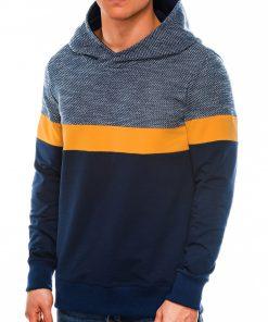 Tamsiai mėlynas vyriškas džemperis su gobtuvu internetu pigiau B1018 14256-1