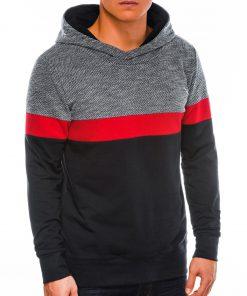 Juodas vyriškas džemperis su gobtuvu internetu pigiau B1018 14257-1