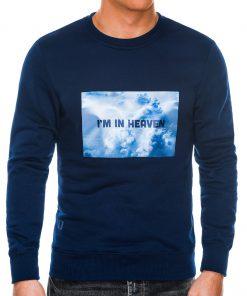 Tamsiai mėlynas vyriškas džemperis internetu pigiau B984 14260