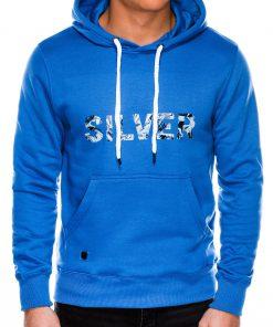 Šviesiai mėlynas vyriškas džemperis su gontuvu internetu pigiau B991 14263-4