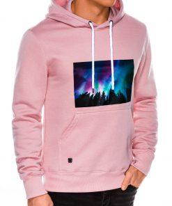 Rožinis vyriškas džemperis su gobtuvu internetu pigiau B992 14265-6
