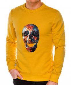 Geltonas džemperis vyrams su kaukole internetu pigiau B987 14268-3