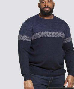 Tamsiai mėlynas didelių dydžių vyriškas megztinis internetu pigiau CORBY KS80516-1