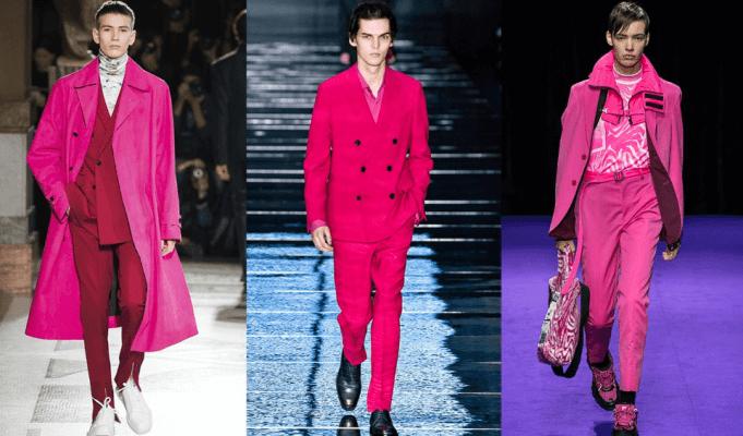 Rausvi drabužiai vyrams: Berluti, Boss, Kenzo