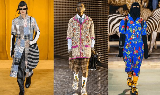 Ryškūs vyriški rūbai: Loewe, Gucci, Vetements