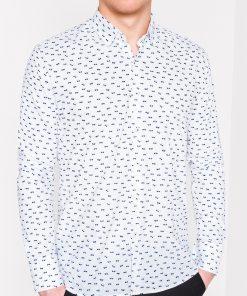 Madingi balti vyriški marškiniai su akinių raštu internetu pigiau Glasow K454 11474