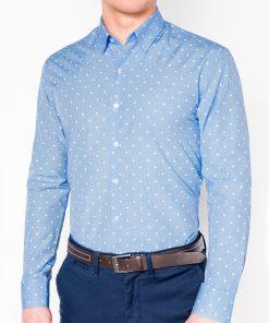 Stilingi šviesiai mėlyni vyriški marškiniai ilgomis rankovėmis internetu pigiau K463 11492